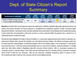 dept of state citizen s report summary