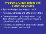 programs organizations and budget structures