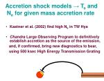 accretion shock models t e and n e for given mass accretion rate