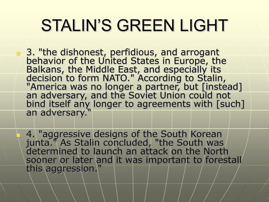 STALIN'S GREEN LIGHT