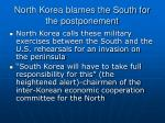 north korea blames the south for the postponement