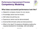 performance improvement process competency modeling