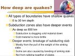 how deep are quakes