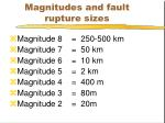 magnitudes and fault rupture sizes