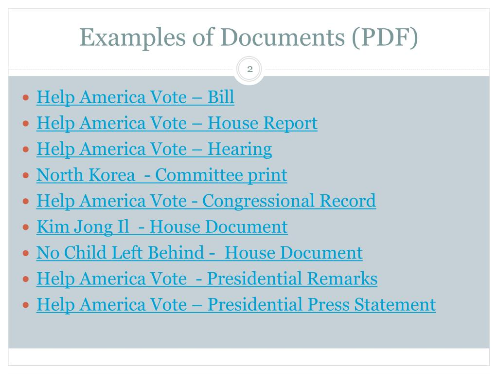 Examples of Documents (PDF)