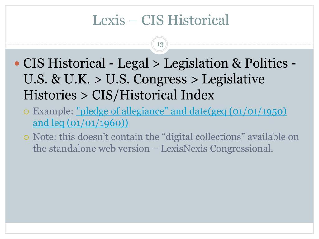 Lexis – CIS Historical