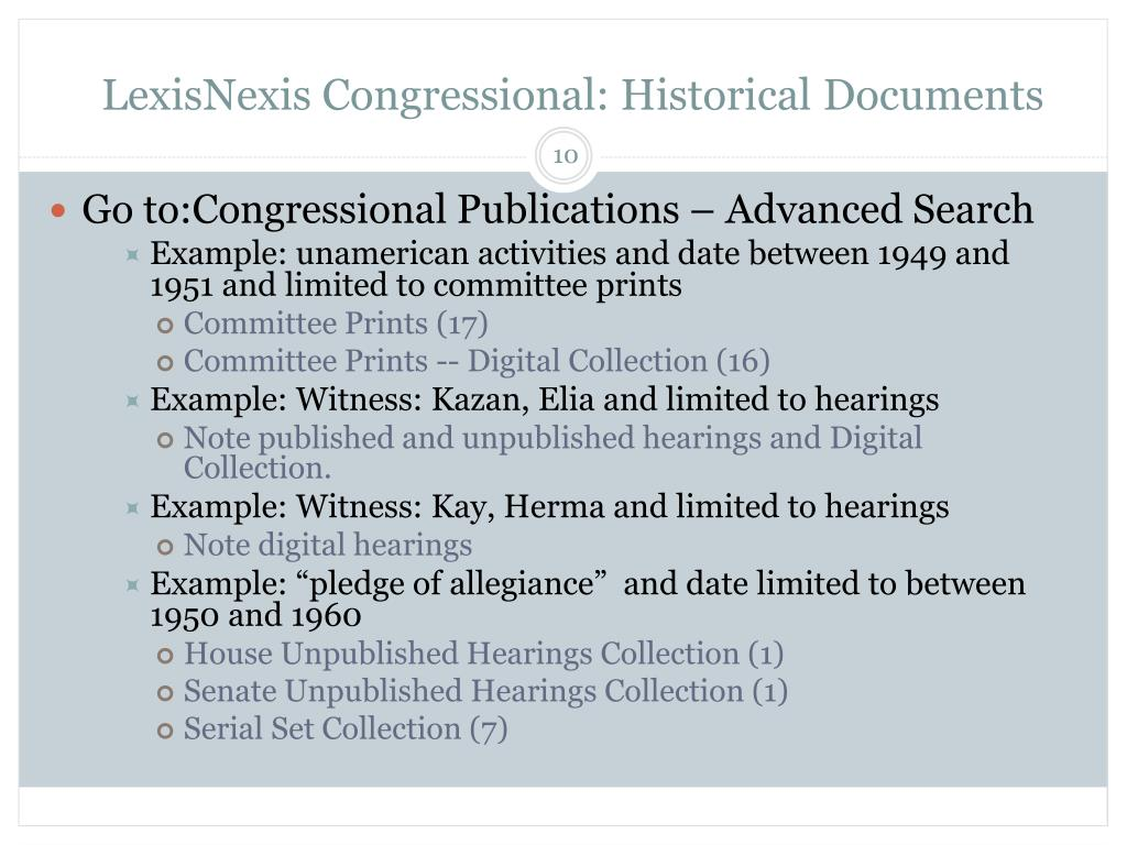 LexisNexis Congressional: Historical Documents