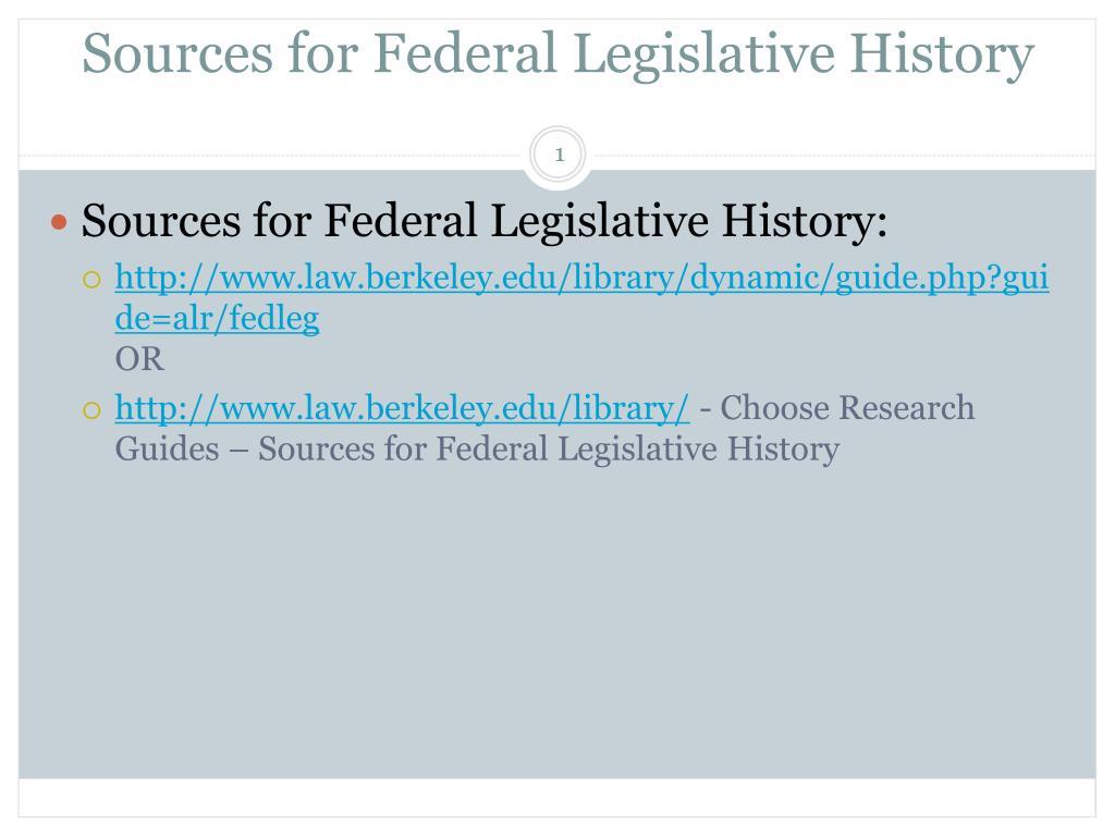 Sources for Federal Legislative History
