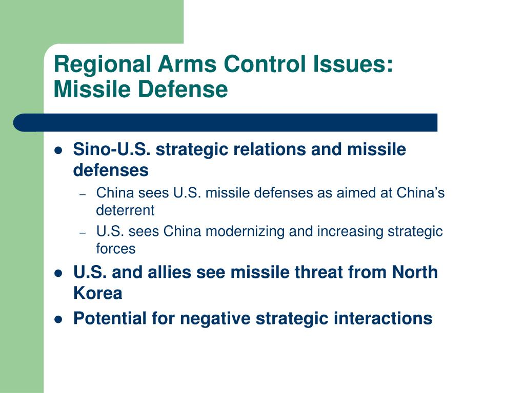 Regional Arms Control Issues: