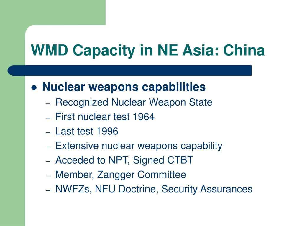 WMD Capacity in NE Asia: China