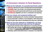 in conclusion answers to panel questions