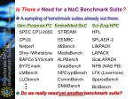 need for a noc benchmark suite
