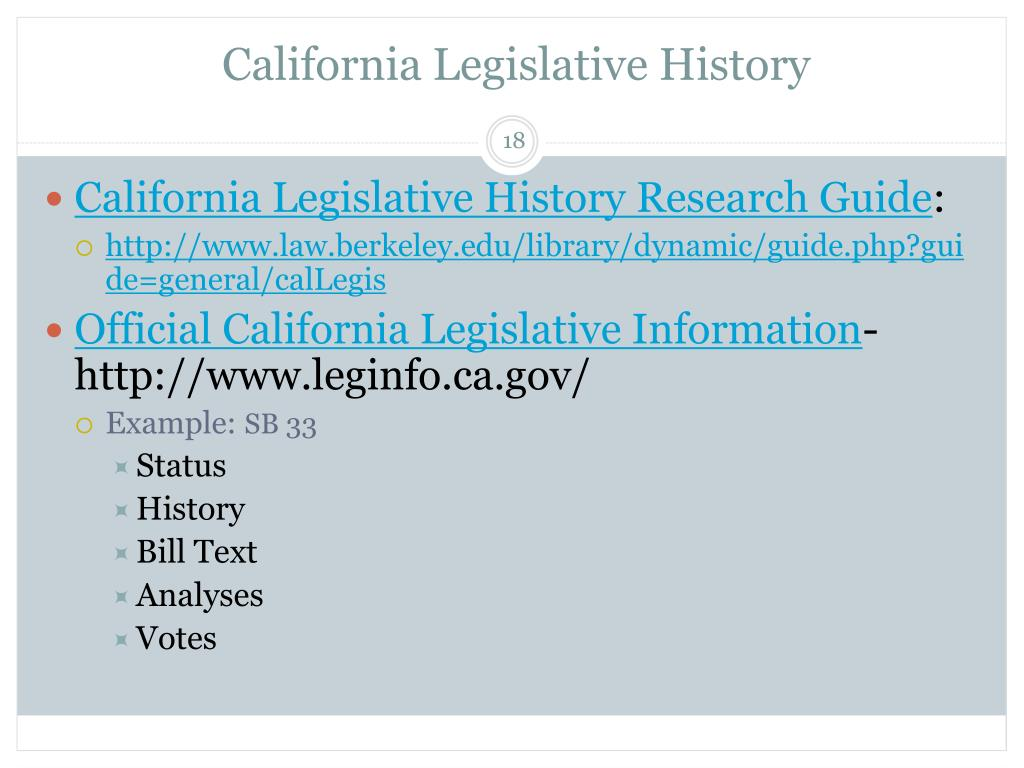 California Legislative History