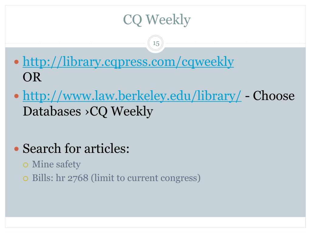 CQ Weekly