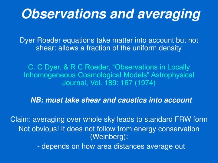 Observations and averaging