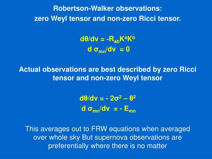Robertson-Walker observations:
