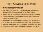 ott activities 2008 20091