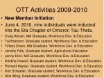 ott activities 2009 20102