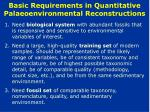 basic requirements in quantitative palaeoenvironmental reconstructions