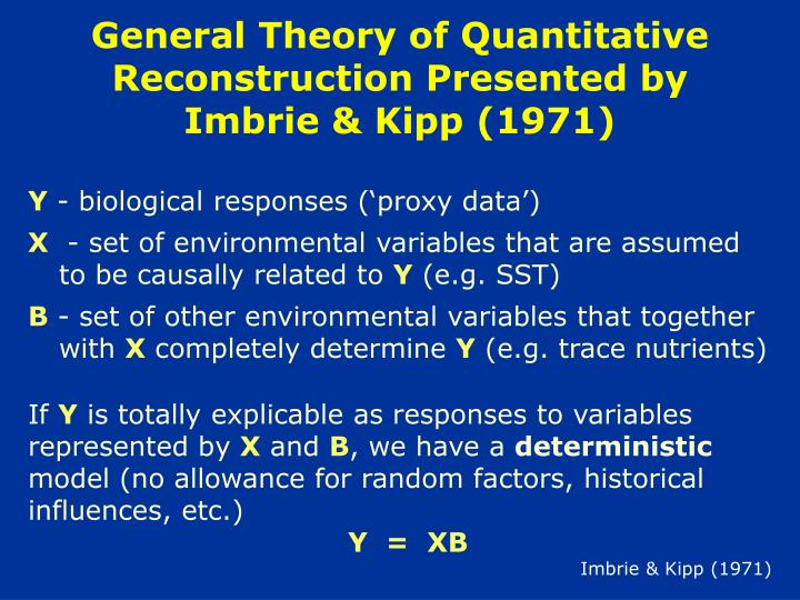 General theory of quantitative reconstruction presented by imbrie kipp 1971