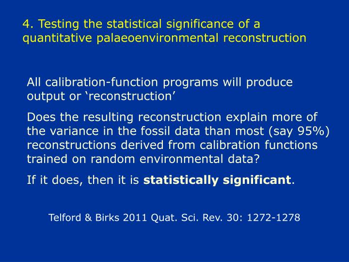 4. Testing the statistical significance of a quantitative palaeoenvironmental reconstruction