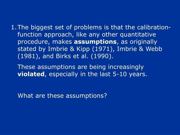The biggest set of problems is that the calibration-function approach, like any other quantitative procedure, makes