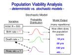 population viability analysis deterministic vs stochastic models