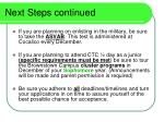 next steps continued