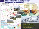blackout can be caused and more frequently by windstorm
