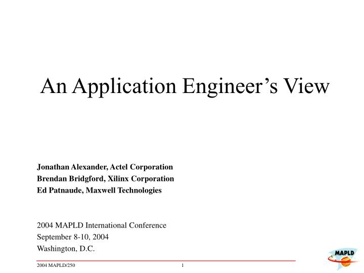 an application engineer s view n.