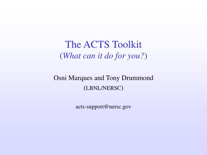 the acts toolkit what can it do for you n.