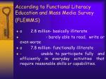 according to functional literacy education and mass media survey flemms