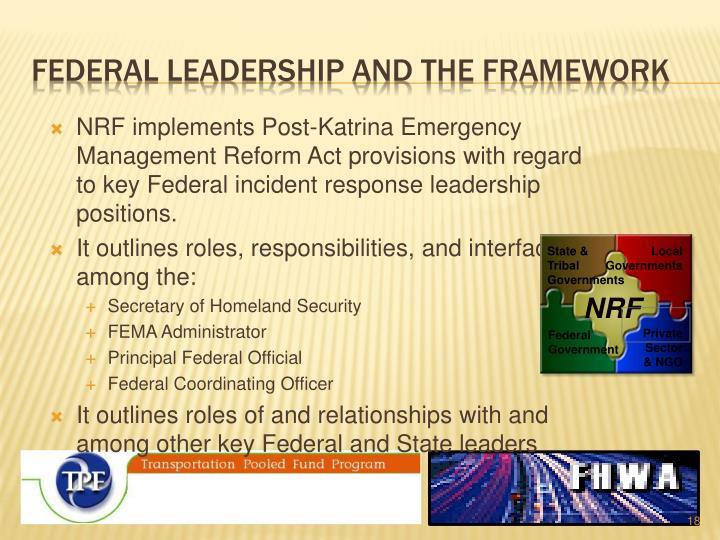 Federal leadership and the framework