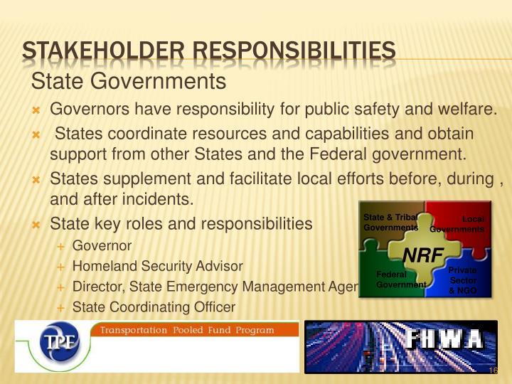 Stakeholder responsibilities