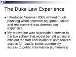 the duke law experience