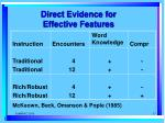 direct evidence for effective features