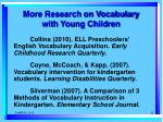 more research on vocabulary with young children
