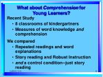 what about comprehension for young learners