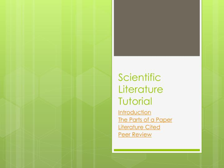 scientific literature tutorial n.