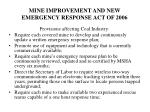 mine improvement and new emergency response act of 20061