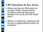 cbo questions key issues