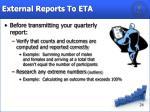 external reports to eta