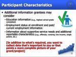 participant characteristics1