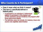 who counts as a participant