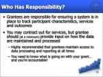who has responsibility