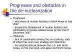 progresses and obstacles in the de nuclearization