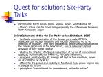 quest for solution six party talks