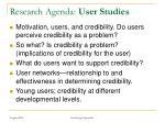 research agenda user studies
