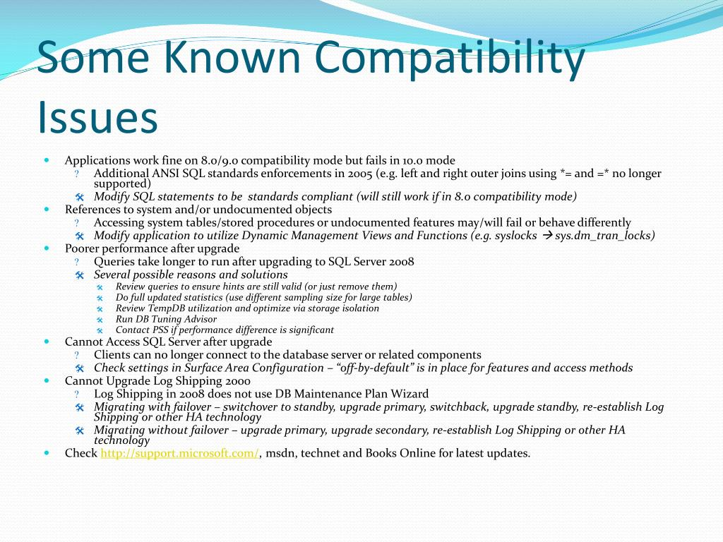 Some Known Compatibility Issues