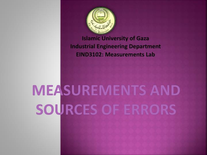 measurements and sources of errors n.